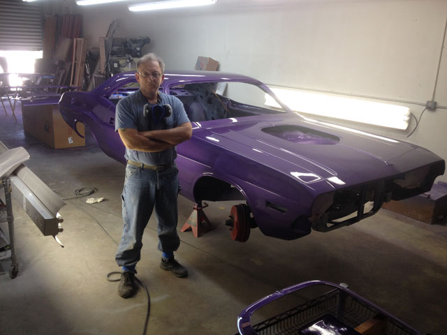 Jim Byrnes and his purple 1973 Challenger ready for reassembly