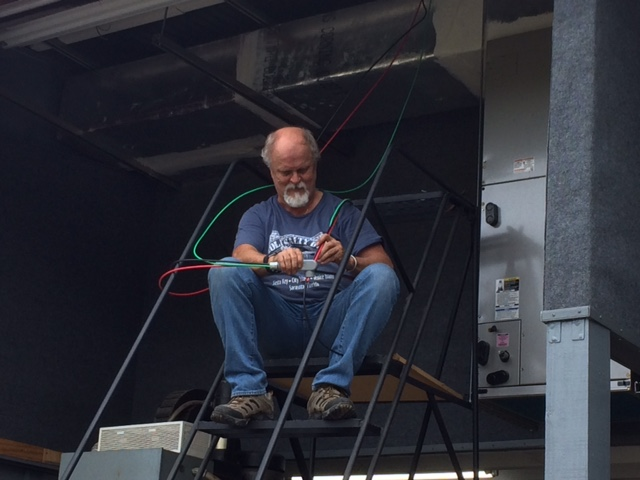 Keith patiently wiring the air handler unit