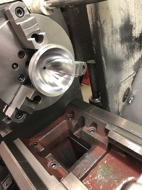 accumulator half in lathe polished